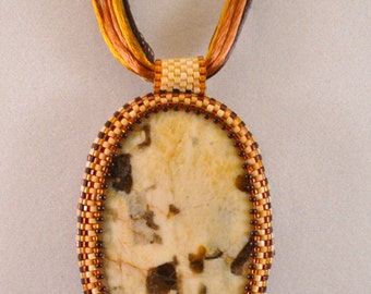 Beadwoven Pendant Shades of the Desert OOAK Bead Embroidery with Agate Womens Birthday Gifts