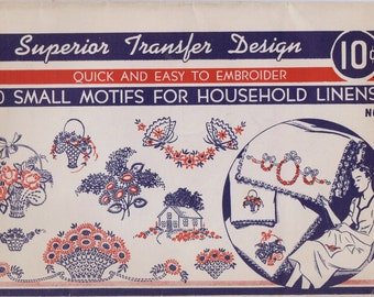 Vintage 1940s Superior Transfer Design No 121 Embroidery Transfers 50 Small Motifs for Household Linens UnCut Hot Iron Transfers
