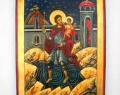 Saint Christopher and the Christ Child Romanian Byzantine Icon, handmade original painting, St Christopher Patron St of Travel & Travelers