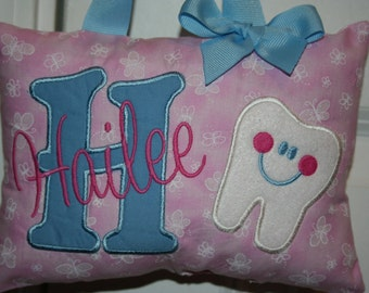 Tooth Fairy Pillow for Girls Personalized Butterfly Boutique Custom Made