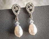 Wedding Earrings, Swarovski Pearl Drop Bridal Earrings, Teardrop Crystal Rhinestone Dangle Stud Earrings, Art Deco Bridal Jewelry, RORI