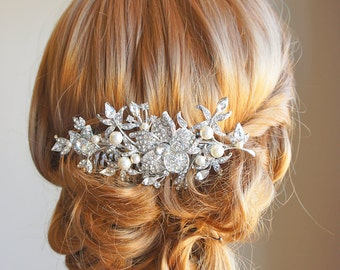 Bridal Hair Comb, Wedding Hair Accessories, Flower Leaf Crystal Hair Comb, Vintage Style Bouquet Head Piece, Swarovski Pearl Comb - GLORIA