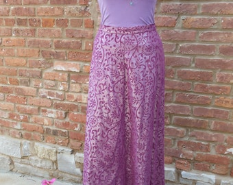 ALine,Long,Burnout Cotton,Shimmery, Skirt,Handmade,Bohemian,Hippie,Folk