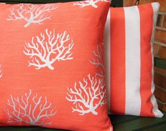 Coastal Pillows Decorative Beach Throw Pillow Covers Salmon/Coral Gray Nautical Cushion Two Couch Sofa Pillow Cottage Home Decor Bedding