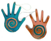 CopperCutts Hand with Spiral Ornament Rustic Southwest Copper and Wood with Your Choice of Primary Color