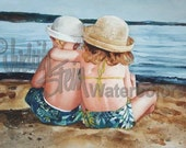 """Beach Girl & Boy, Sister, Brother, Blue Swim Suits, Straw Hats, Children Watercolor Painting Print, Wall Art, Home Decor, """"Sunning Siblings"""""""