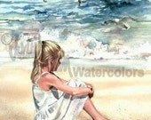 "Blond Beach Girl in White Sun Dress Watching Seagulls, Sea Waves, Seashore, Watercolor Painting Print, Wall Art, Home Decor, ""Beach Breeze"""