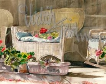 "Wicker Patio Flower Garden, Red & Pink Geranium Pots, White Cane Sofa, Chair, Watercolor Painting Print, Wall Art, Home Decor, ""Wicker Ways"""