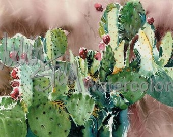 """Southwest Cactus, Red Tuna Fruit, Desert Landscape, Pear, Pads, Watercolor Painting Print, Wall Art, Home Decor, """"Prickly Pear Nopalito"""""""