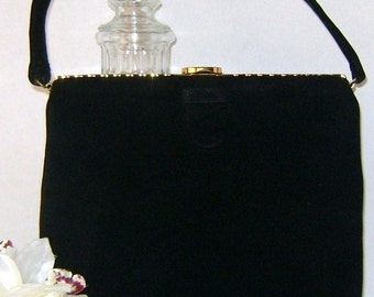 Single Strap Fauxe Black  Suede Evening Purse
