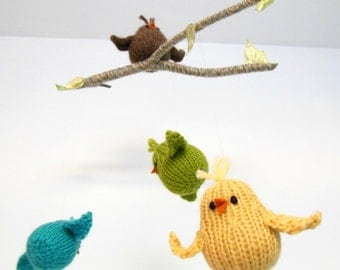 Baby Mobile, Bird Mobile, Bird Nursery Decor, Crib Mobile, Baby Boy Mobile, Baby Girl Mobile, Bird on Branch mobile, Woodland Mobile, Wool