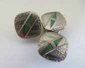 Vintage Findings METAL Art Deco silver with green Kum A Part B&W Co Pat 1929