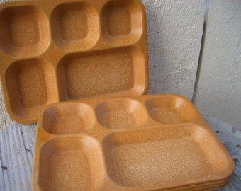 School Lunch Trays, Serving Tray, 5 Vintage Brown Lunch Tray Set