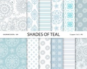 Teal Digital Paper, floral digital paper, wedding papers, scrapbook paper, scrapbooking - 589