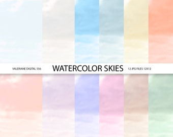 Watercolor digital paper, watercolor backgrounds, watercolor papers- 12 jpg files 12x12 - INSTANT DOWNLOAD  556