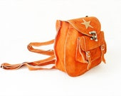 Vintage Backpack Suede Spanish Orange Suede Leather Signed By Artist