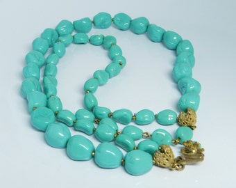 Vintage Miriam Haskell Turquoise Blue Double Stranded Beaded Necklace Choker