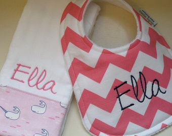 Monogrammed CHEVRON Baby Girl Bib and Burp Cloth Set