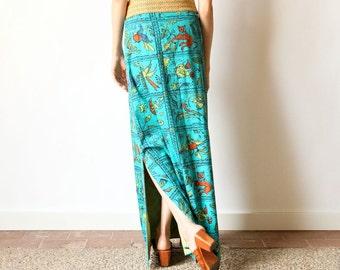 60s Batik Maxi Skirt Teal Turquoise Boho Hippie Bird Folk Art Floral a-line psychedelic Bali or Hawaii style seafoam green bold color skirt