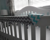 REVERSIBLE Crib Teething Rail Padded Front Cover with Fabric Ties 51 inches - Made in fabric of your choice
