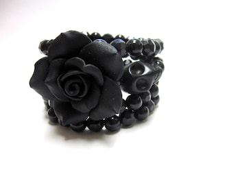 Black Sugar Skull Bracelet Day Of The Dead Wrap Rose