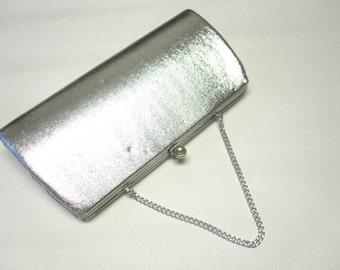Silver Evening Clutch Purse Shiny Metallic Handbag