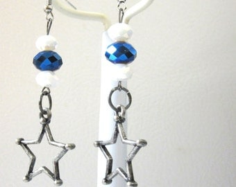 Cowgirl Star Earrings Western Jewelry Blue White Silver Pewter