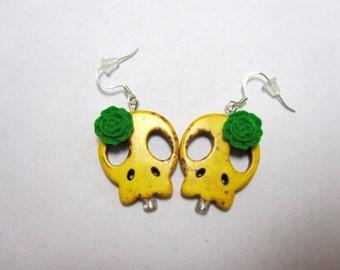 Sugar Skull Earrings Day Of The Dead Jewelry Yellow Green Flower