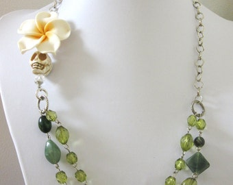 Sugar Skull Necklace Green White Silver Day Of The Dead