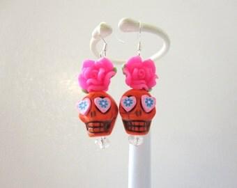 Day Of The Dead Earrings Sugar Skull Dangle Orange Hot Pink Rose Flower
