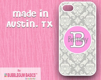 Custom Phone Case iPhone 6 5/5S 4/4S Samsung Galaxy S4 S5 - Gray Damask Pink Circle - Monogrammed Personalized