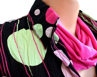 Pink Infinity Scarf Lightweight Layering Fashion Accessories Women's Ascot Neck Warmer Throat Cancer Scarf