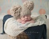 Crochet Baby Hat/ Newborn Photography Prop/ Double Pom Pom Beanie/ 100% Natural Chunky Wool/ COMPLIMENTARY SHIPPING