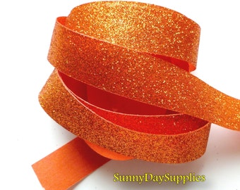 Orange Glitter Ribbon, Shimmer and Sparkle  Ribbon,  5 YARDS,  7/8  inch wide,  Orange Ribbon ~ Glitter Ribbon