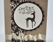 Christmas Greeting Card, Ivory, Brown, Reindeer, Dasher, Snowflakes, Seasons Greetings, Merry Christmas, Ribbon, Stamped, Blank Inside