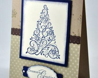 Christmas Greeting Card, Ivory, Blue, Brown, Christmas Tree, Snowflakes, Seasons Greetings, Merry Christmas, Stamped, Blank Inside