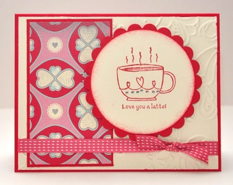 Valentine's Greeting Card, Love, Love You a Latte, Happy Valentine's Day, Hearts, Red, Pink, White, Ribbon, Loved One, Blank Inside