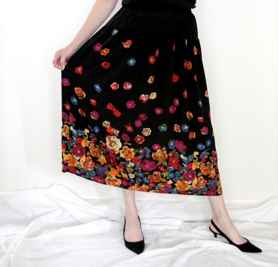 RESERVE for Mary H : Designer Carole Little long floral boho SKIRT / 1980s fashion / small size