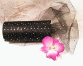 "Tulle / 25 Yards / 6"" Black with Gold Shining Polka Dot  / Roll Nylon- Bridal- 50th Birthday Gift Wrap Ribbon Tulle"