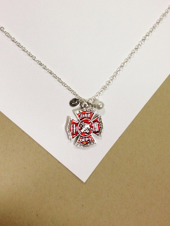 fireman firefighter necklace with rhinestones pearl and