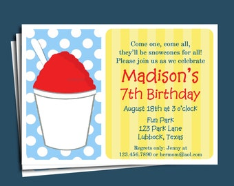 Snowcone Invitation Printable or Printed with FREE SHIPPING -  You Pick Colors - Snowball Invitation