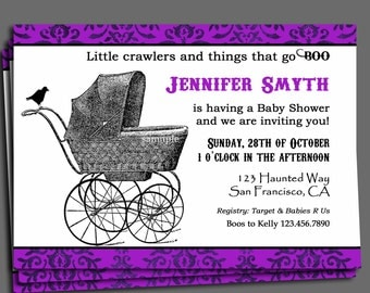 Halloween Baby Shower Invitation Printable or Printed with FREE SHIPPING -ANY Wording- Vintage Stroller Collection