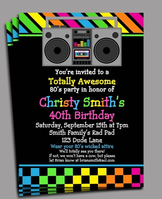 80s Party Invitation Printable or Printed with FREE SHIPPING - Personalized for your Party ...