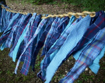 FREE SHIP Plaid strips on Baling Twine Swag Garland