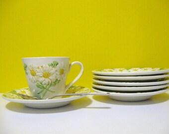 Vintage Metlox Daisy basketweave Metlox cup and saucers Poppy Trail series