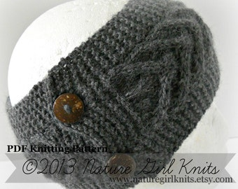KNITTING PATTERN, Cable Knit Ear Warmer, Instant Download PDF file