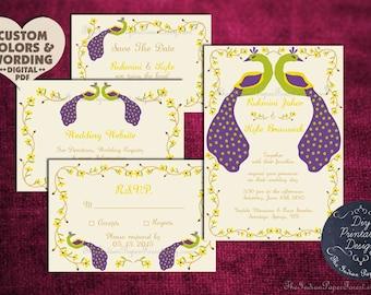 RUSTIC PEACOCK Indian Wedding Invitation Card Set Suite DIY Printable Design Template Asian Hindu Sikh Punjabi Muslim Nepali Bengali Tamil