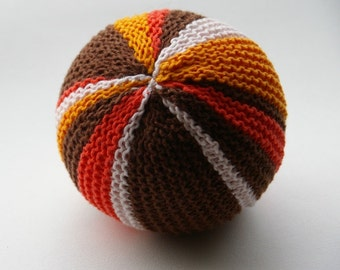 Knitted baby toddler soft toy ball with bell.Handmade handknit.Striped.Brown, orange, yellow white.Retro colors.montessori toy