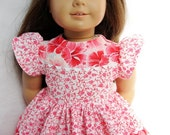 American Girl Doll Dress - Floral Dress in Coral Hibiscus for 18 Inch Dolls