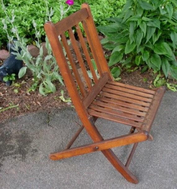Vintage Wood Chair Paris Mfg Co Folding Slated Child Doll